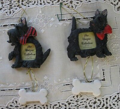 2 Scottie Dog Picture Frames with Hanging Bones Ornaments