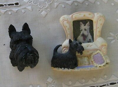 2 Scottie Dog Frig Magnets 1 Russ Picture Frame and Scottie Head