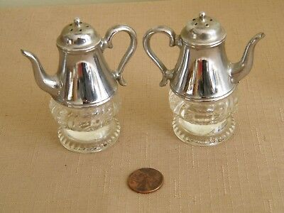 "Vintage Glass & Silver Cast Metal Tea Coffee Pot Salt Pepper Shakers 2-3/4"" High"