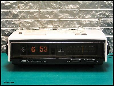 SONY digimatic black light-Klappzahlen-Radiowecker-Radio-Wecker-Uhr-Flip Clock