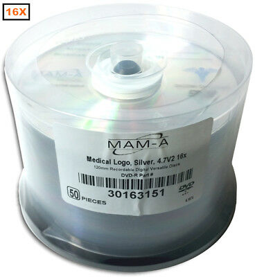 50-Pak MAM-A Mitsui =MEDICAL GRADE= Logo-top ARCHIVAL 4.7GB DVD-R's