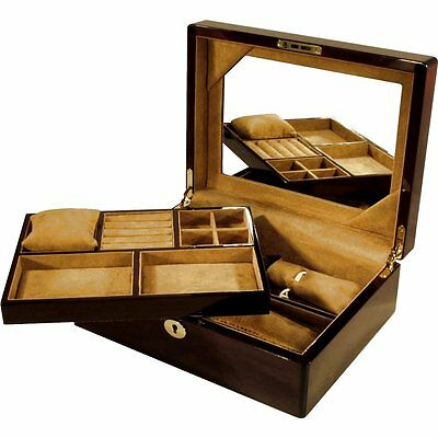 Laminated Mahogany Jewellery Box with Lift Out Tray by Hillwood RRP£245