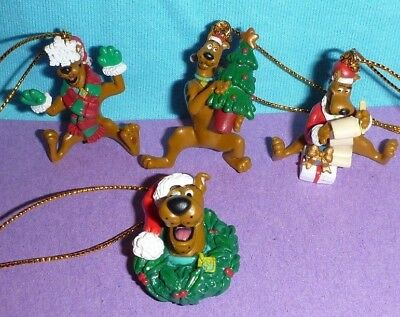 Scooby Doo Minature Christmas Tree Ornaments Santa Wreath Set 4