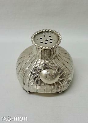 Superb Rare Chinese Export Solid Silver Crab And Woven Basket Pepper Pot Shaker