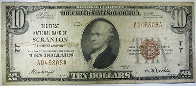 1929 $10 Ten Dollars National Currency, Scranton, Pennsylvania