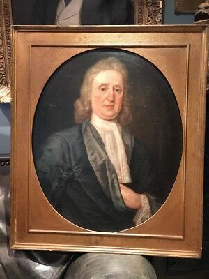 Large Antique 18th Century Oil Portrait Painting Of A Man In Wig Henry Boyton