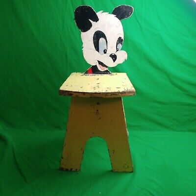 One Of A Kind Folk Art Cub Bear Yellow Child's Chair Wood  Hand Painted *Unique*