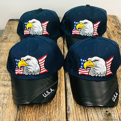 4 PC Set Blue Eagle USA American Flag Baseball Cap With Leather Bill NEW  T