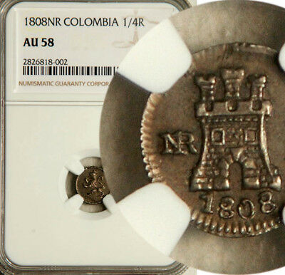 Ngc Au-58 Colombia Silver 1/4 Real Quarto 1808 (Rare Undergraded Beauty!)