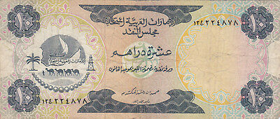 10 Dirhams Vg-Fine Banknote From United Arab Emirates 1973!pick-3!!!first Issue!