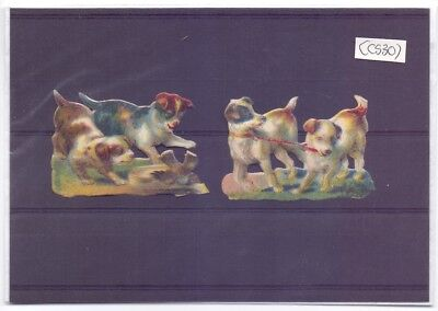 Nice Lot of Original Victorian Die Cut scraps,Puppies Playing  (SC 30)