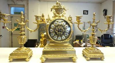Beautiful Antique 19th c French Gilt Brass 8 Day Bell Mantle Clock Garniture Set