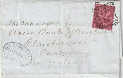 GB to NEW ZEALAND LONDON CHARING CROSS Squared Circle QV FORWARDING AGENT 1888