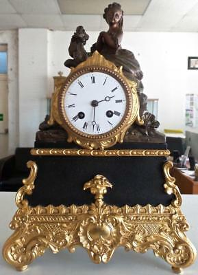 Antique French 19th c 2 Tone Gilt Figural 8 day Bell Striking Mantle Clock