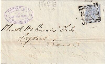 GB to France LONDON LOMBARD ST BO Squared Circle QV 2d half 1883