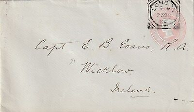 GB to Ireland LONDON Geometric Squared Circle QV 1d Stny 1884 Code Q 4 INVERTED