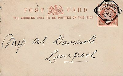 GB LONDON Geometric Squared Circle Halfpenny Post Card 1889 Code J5