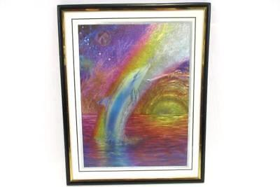 Framed Matted Painting Foil Art Metallic Rainbow Dolphin 49736