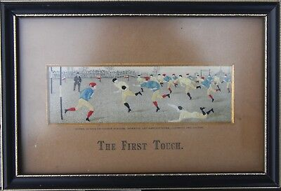 "1890s Stevengraph (by Stevens) Silk Woven Picture ""The First Touch""  Rugby Match"