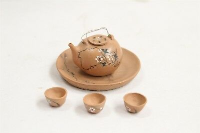 Chinese Yixing Miniatue Carved Flower Branches Lines Pottery Teapot Set
