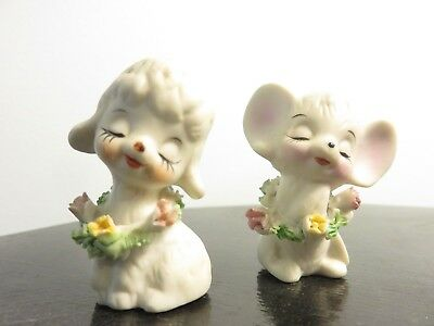 """Vintage Porcelain Miniature Sheep Lamb and Mouse Figurines Flowers 2"""" tall"""