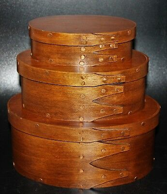 "Three Nesting Shaker Style Cherry Oval Wood Boxes Copper Tacks 7"" 6"" & 5"""