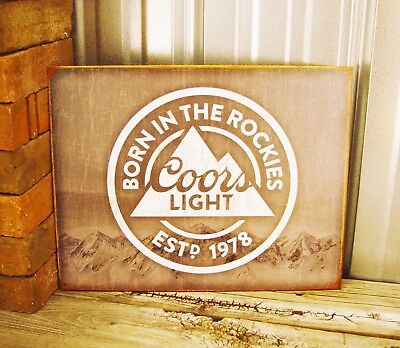 Coors Light Beer Born in the Rockies Metal Tin Sign Vintage Man Cave Garage New