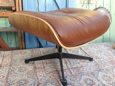 Classic Brown Leather Lounger Chair Stool, After Charles Eames Modernist Chic