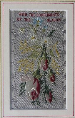 "1890s Stevengraph (by Stevens) Xmas Woven Silk ""Compliments of the Season"""