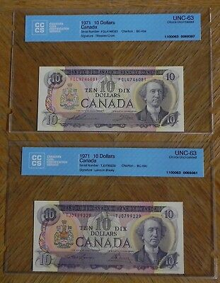 2  1971 $10 Canadian Bank Notes Certified UNC-63 Choice UNC Different Signatures