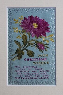 "1890s Stevengraph (Stevens) Xmas Woven Silk ""With Christmas Wishes"" + poem"