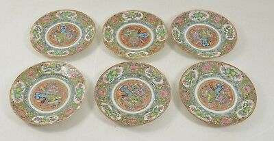 """6 Pieces MANDARIN Chinese Export Porcelain Small Rose Medallion Plates 7"""""""