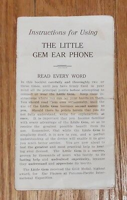 C1920 Antique Pamphlet Instructions for Using the Little Gem Ear Phone