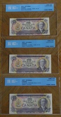 3  1971 $10 Canadian Bank Notes Certified UNC-64 Choice UNC Different Signatures