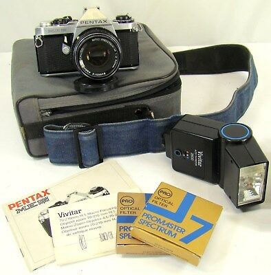 Vtg Pentax Me Super 35Mm Film Camera W/ Asahi 50Mm Lens, Flash, Case, & More