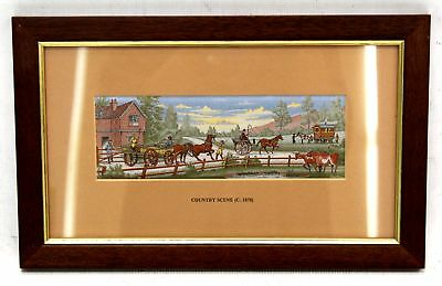 CASH 'Country Scene' Decorative Woven EMBROIDERY Artwork / Framed - N39