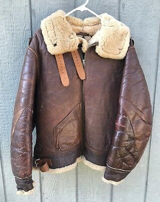 Vintage 1940's WW2 USAAF B-3 Shearling Leather Bomber Jacket By AERO 42R Repro?