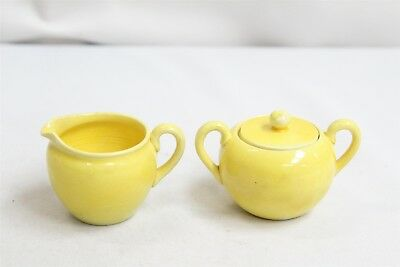 Awaji Japanese 2 Yellow crackle Pottery Creamer Sugar Set