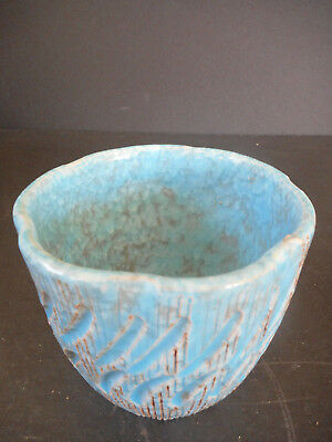 Pottery Planter Made n Italy by Enesco  A Small Red Clay Pot Blue Glaze & Brown