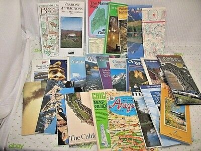 Vintage Lot of 25 Road Maps & Tourist Attractions booklets/brochures Europe & US