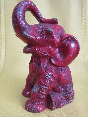 193? VANIO ELEPHANT STILL BANK- Trunk Up- Red Metal - Free Ship
