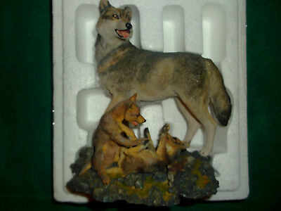1996 Hamilton Collection  Wolves Of The Wildness-Tumbling Twosome Figurine