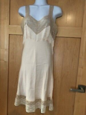 Vintage Fischer Heavenly SILK 1940's Full Slip Lace Small