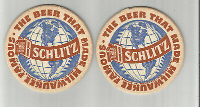 "Pair of 1950's Schlitz Beer Coasters =Milwaukee, WI 3 1/2' ""The Beer That Made"""