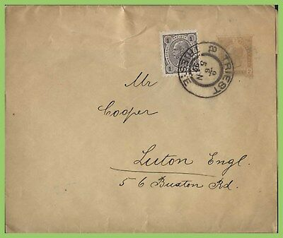 Austria 1897 2k p.s. env. uprated with 1k stamp to England, Trieste cancel