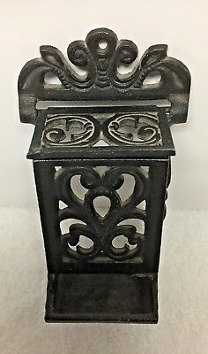Vintage Cast Iron Match Holder / Fireplace Tools