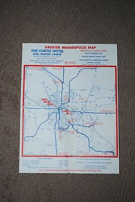 vintage Curtis Hotel Minneapolis-St. Paul map late 1960's