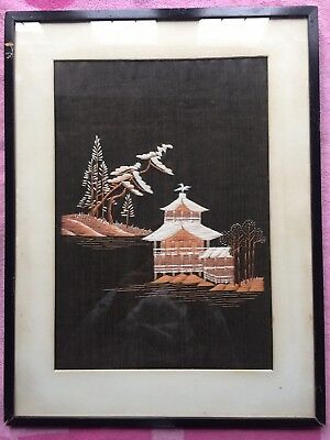 Antique Japanese/Chinese/ Oriental Silk Cloth Picture And Frame