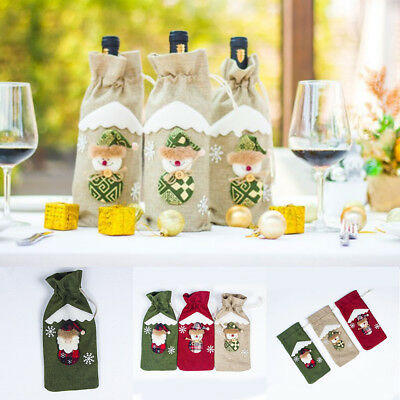 Christmas Santa Red Wine Bag Bottle Set Cotton Linen Wedding Bar Party Ornaments