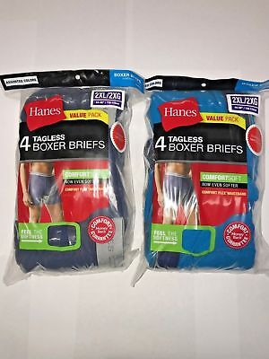 Hanes Men's Tagless Boxer Briefs 8-PACK SIZE 2XL 3XL 4XL Color or White NEW